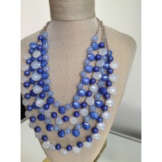 Blue Strand Beaded Necklace
